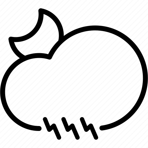 cloud, electricity, light, moon, night, thunder, weather icon