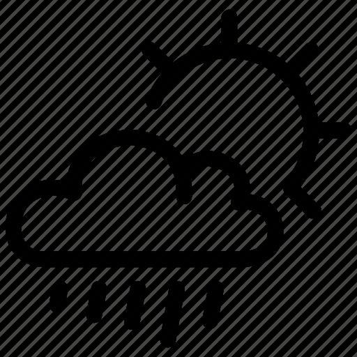 climate, day, drops, light, precipitation, rain, sun icon