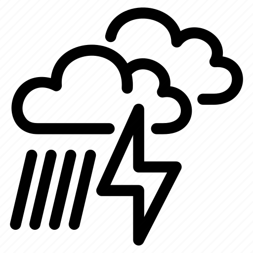 climate, cloudy, lightning, moderate, rain, storm icon