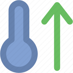 cold, high temperature, hot, temperature, thermometer, up arrow icon