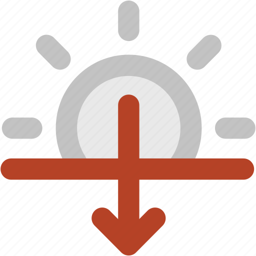 atmosphere, down arrow, forecast, sun brightness, sunset, sunshine, weather icon