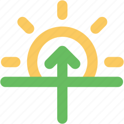 atmosphere, forecast, sun brightness, sunrise, up arrow, weather icon