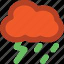 rainy, stormy, stormy rain, thunder, thunder bolt icon