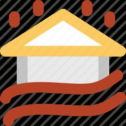 building, flood, forecast, house, house flood, raining, water icon