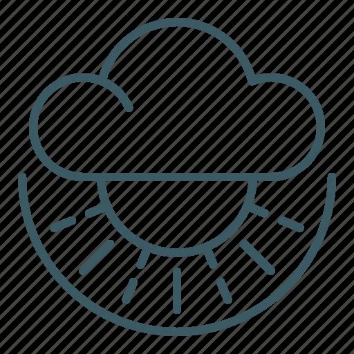 cloud, overcast, sun, sunny, weather icon