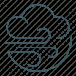 blow, breezy, cloud, gusty, weather, wind, windy icon