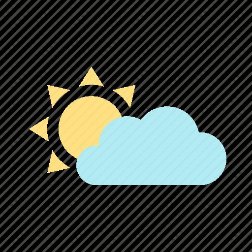 cloud, forecast, partly cloudy, sky, skyless, sun, weather icon