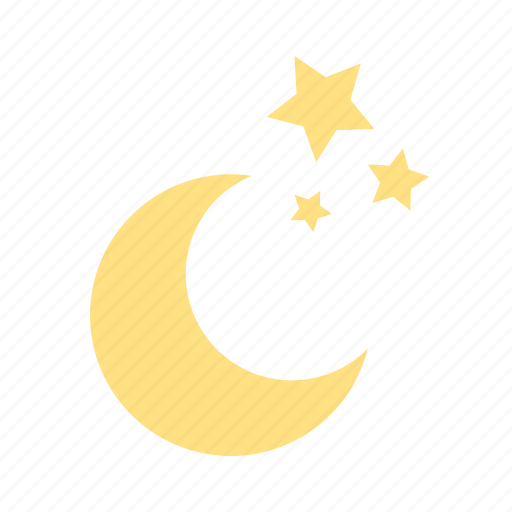 clear night, forecast, moon, night, sky, stars, weather icon