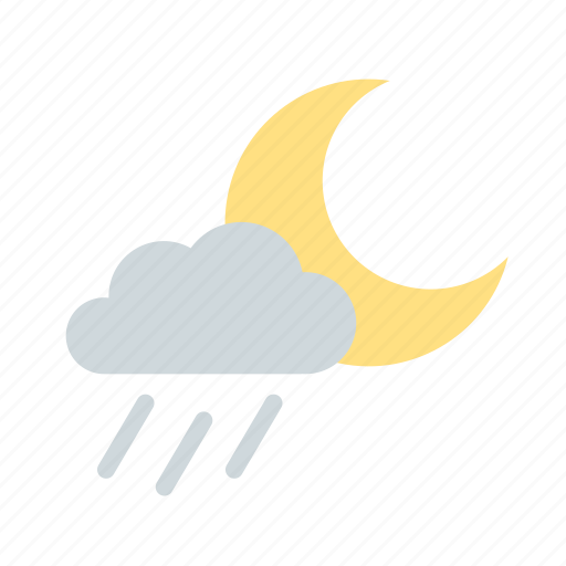 cloudy, forecast, moon, night, rain, rainy, weather icon