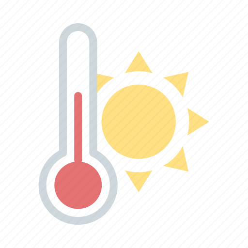 heat, high temperature, hot, sun, thermometer, warm, weather icon