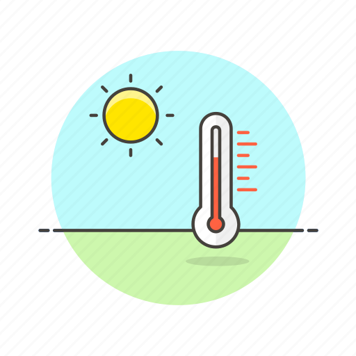 daylight, high, summer, sun, temperature, thermometer, weather icon