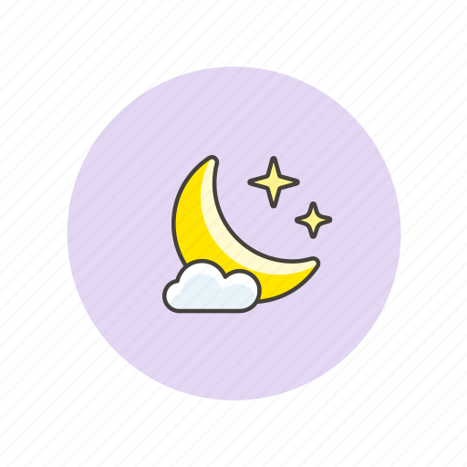 cloud, moon, night, star, time, weather icon