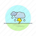 cloud, daylight, rain, storm, thunder, weather icon