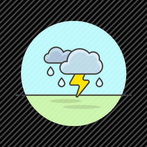 cloud, daylight, rain, storm, thunder, weather icon