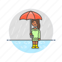 humid, protect, rain, umbrella, weather, wet, woman icon