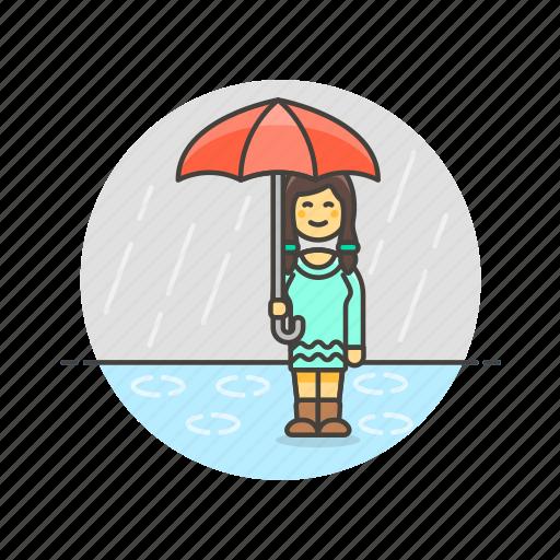 humid, protect, rain, umbrella, weather, wet, woman icon