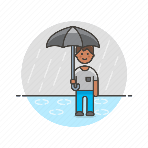humid, man, protect, rain, umbrella, weather, wet icon