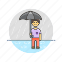 humid, man, protect, rain, umbrella, weather icon