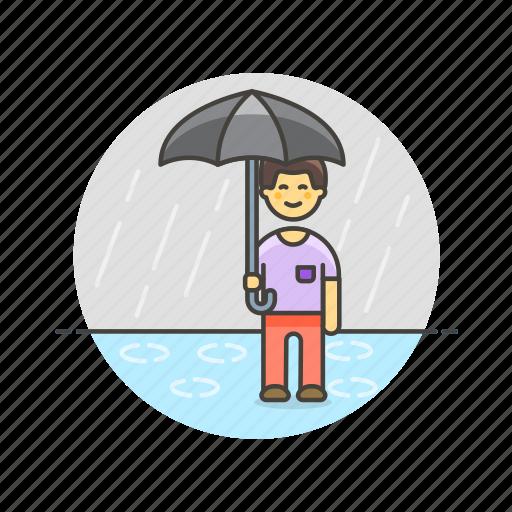 humid, man, protect, rain, umbrella, weather icon