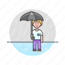 humid, man, protect, rain, umbrella, weather, wet icon
