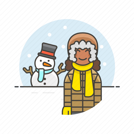 cold, gloves, snow, snowman, weather, winter, woman icon