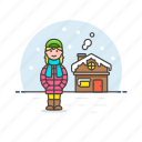 cold, house, outdoors, snow, weather, winter, woman icon