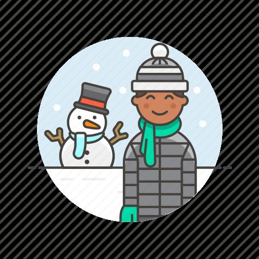 cold, gloves, man, snow, snowman, weather, winter icon