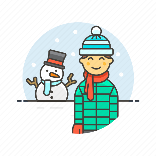 cold, gloves, man, snow, snowman, weather, winter icon