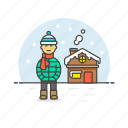 cold, house, man, outdoors, snow, weather, winter icon