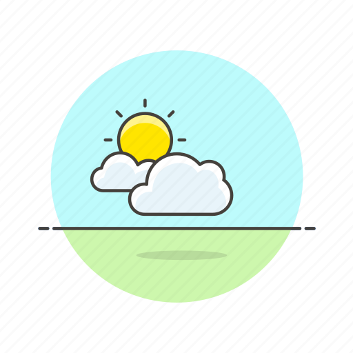 cloud, daylight, grass, summer, sun, weather icon