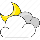 cloud, crescent, forecast, moon, nature, night icon