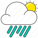 cloud, day, forecase, nature, rain, rainy, sun icon