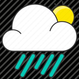 cloud, day, forecase, nature, rain, rainy, sun icon