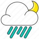 cloud, forecast, moon, night, rain, rainy icon