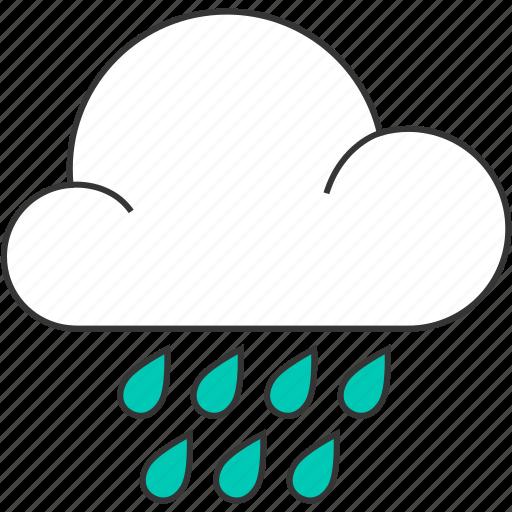 cloud, cloudy, forecast, nature, rain, raindrops, rainy icon