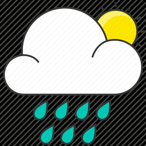 cloud, day, forecast, nature, rain, raindrops, sun icon
