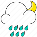 cloud, forecast, moon, nature, night, rain, raindrops icon