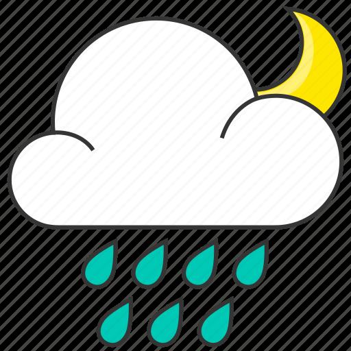 cloud, forecast, moon, nature, night, rain, raindrops icon