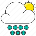 cloud, forecast, nature, show, snowflake, sun icon