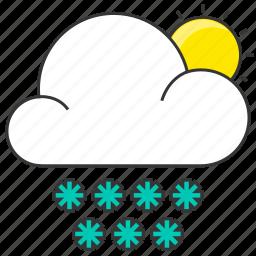 cloud, forecast, nature, show, snowflake, sun icon