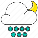cloud, forecast, moon, nature, snow, snowflake icon