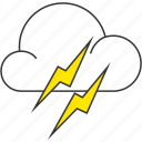 cloud, forecast, lightning, nature, thunderbolt icon