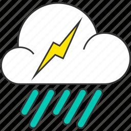 cloud, forecast, lightning, rain, rainy, thunderbolt icon