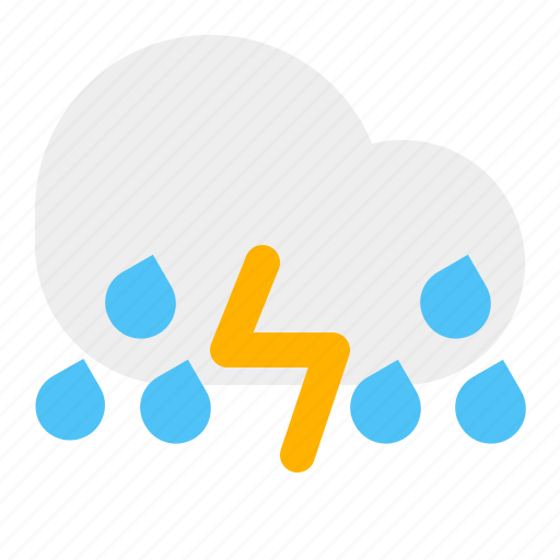 cloudy, rain, thunder, weather icon