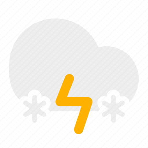 cloud, snow, thunder, weather icon