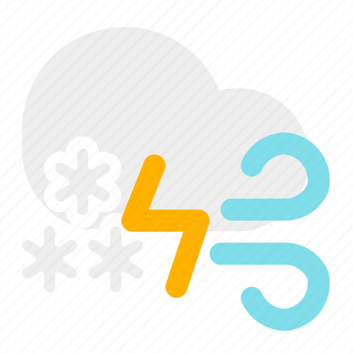 cloud, snow, thunder, weather, wind icon