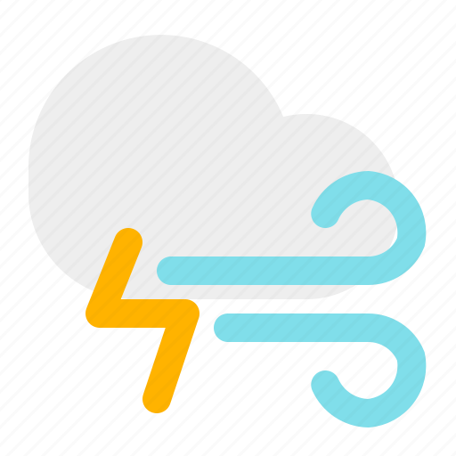 cloud, thunder, weather, wind icon