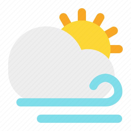 day, sun, weather, wind icon