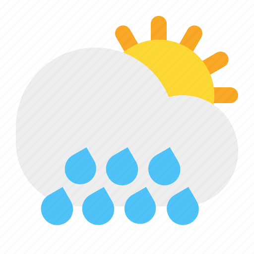 cloud, day, rain, sun, weather icon
