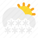 cloud, day, snow, sun, weather icon